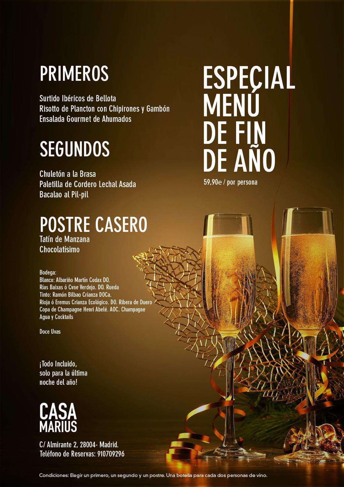 Menú de Navidad en Madrid Centro por 59,90€ - Restaurante Casa Marius